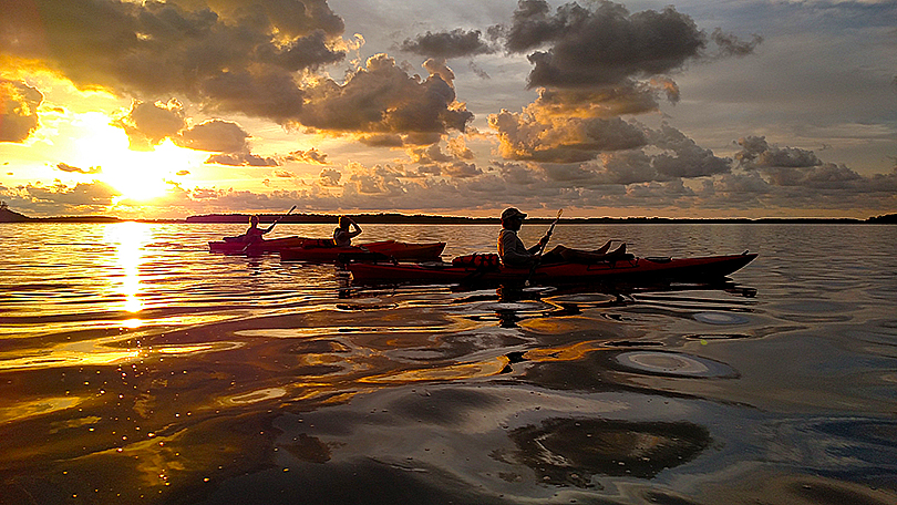 Island Kayak Tours sunset tour trio